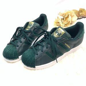 Adidas Superstar Green Velvet Leather Sneaker NWT